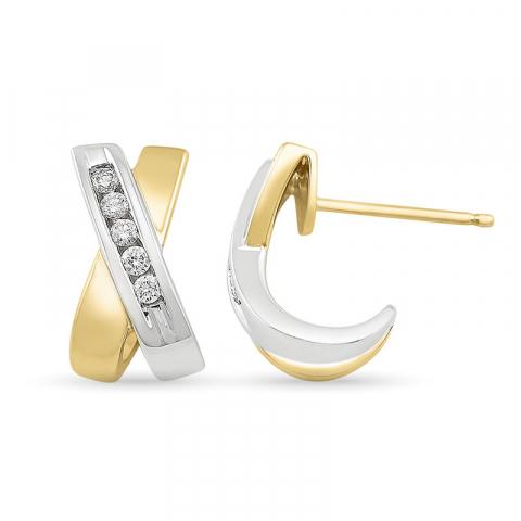 Diamant dame halvcreoler i 14 karat guld og hvidguld med diamanter