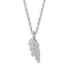 Lille Joanli Nor blad vedhæng med halskæde i sølv hvide zirkoner