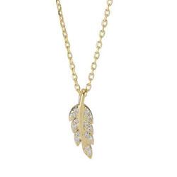 Sødt Joanli Nor blad vedhæng med halskæde i forgyldt sølv hvide zirkoner