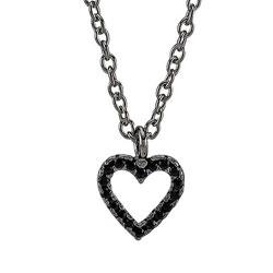 Elegant Joanli Nor hjerte vedhæng med halskæde i sort rhodineret sølv sorte zirkoner