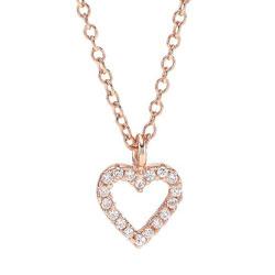 Klassisk Joanli Nor hjerte vedhæng med halskæde i rosabelagt sølv hvide zirkoner