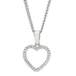 Flot Joanli Nor hjerte vedhæng med halskæde i sølv hvide zirkoner