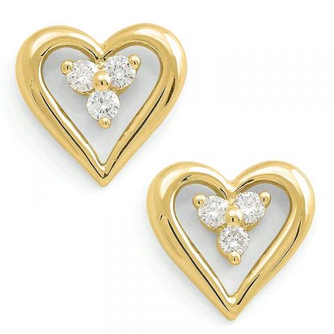 Fine hjerte ørestikker i 14 karat guld med diamanter