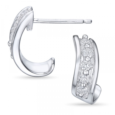 Diamant ørestikker i 14 karat hvidguld med diamanter