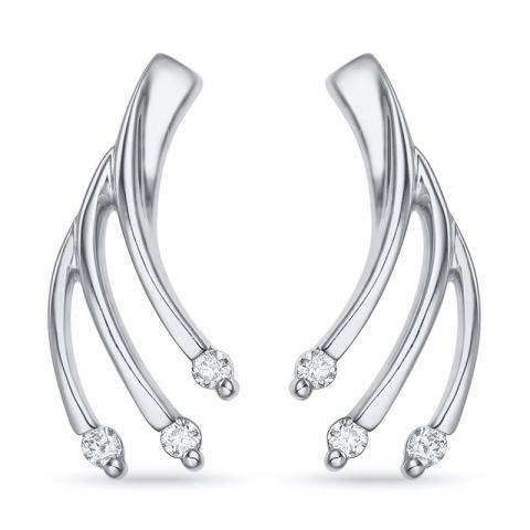 Brillantøreringe i 14 karat hvidguld med diamanter
