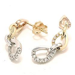Diamant ørestikker i 14 karat guld hvidguld rødguld med diamanter