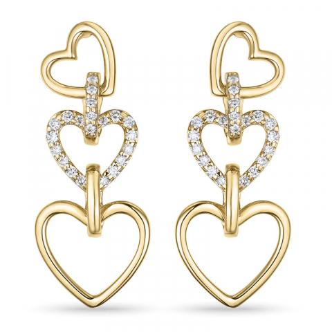 hjerte brillantøreringe i 14 karat guld med diamant