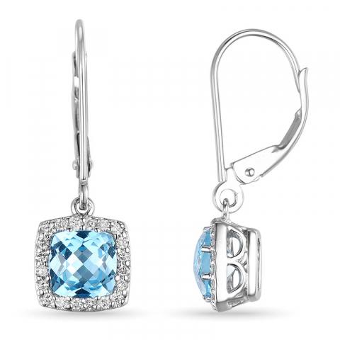 blå topas øreringe i 14 karat hvidguld med diamant og topas