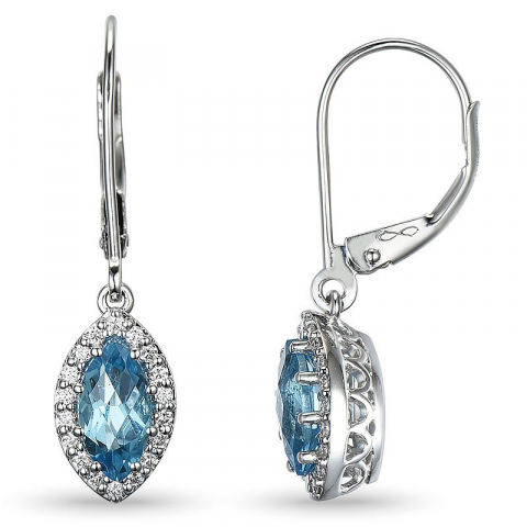 Blå topas diamantøreringe i 14 karat hvidguld med diamanter og topaser