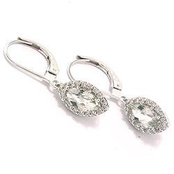 Ametyst øreringe i 14 karat hvidguld med diamanter og ametyster