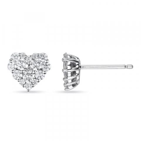Smykke diamantøreringe i 14 karat hvidguld med diamanter