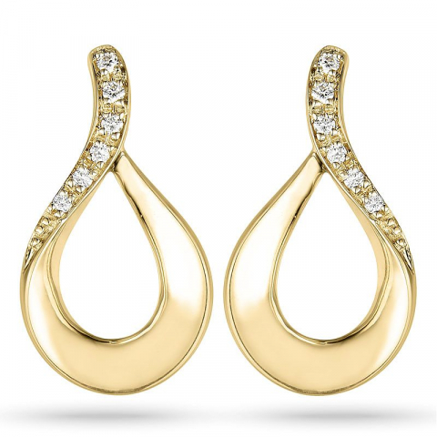 diamant ørestikker i 14 karat guld med diamant