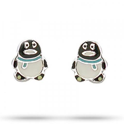 Fine Aagaard pingvin øreringe i sølv multifarvet emalje