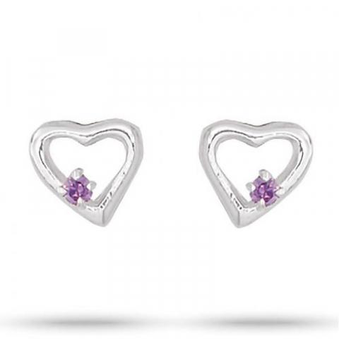 Pæne Aagaard hjerte lilla zirkon øreringe i sølv lilla zirkoner
