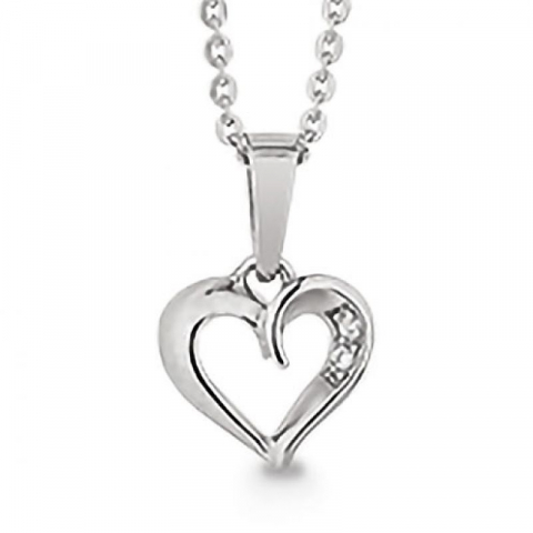Smukt Aagaard hjerte zirkon vedhæng med halskæde i sølv hvide zirkoner