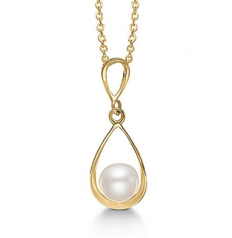 Fint Aagaard dråbeformet perle vedhæng i 8 karat guld med forgyldt sølvhalskæde