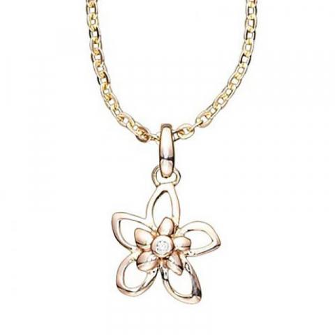 Elegant Aagaard blomst vedhæng i 8 karat guld med forgyldt sølvhalskæde hvid zirkon