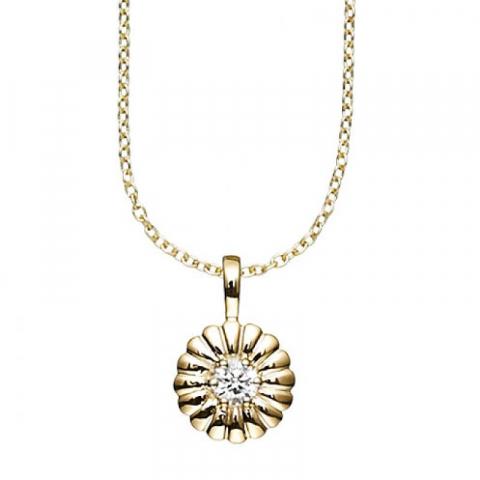 Fint Aagaard bellis vedhæng i 8 karat guld med forgyldt sølvhalskæde hvid zirkon