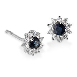 Aagaard safir øreringe i rhodineret sølv blå safirer hvide zirkoner