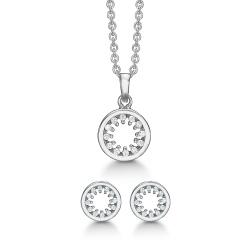 Støvring Design rundt sæt med øreringe og halskæde i rhodineret sølv hvid zirkon