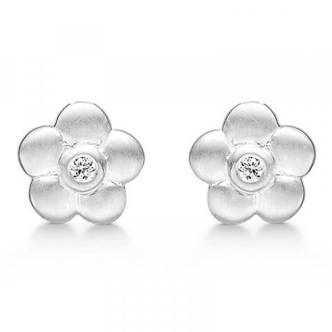 Fine Støvring Design blomst øreringe i sølv hvide zirkoner