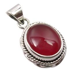 Ovalt rød vedhæng i oxideret sterlingsølv