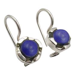 Fine lapis lazuli øreringe i oxideret sterlingsølv
