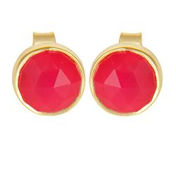 Runde pink øreringe i forgyldt sølv