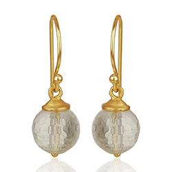 Runde krystal øreringe i forgyldt sølv