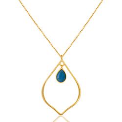 Blå halskæde i forgyldt sølv med vedhæng i forgyldt sølv