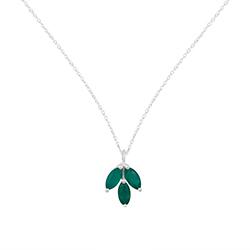 Grøn onyks halskæde i sølv med vedhæng i sølv