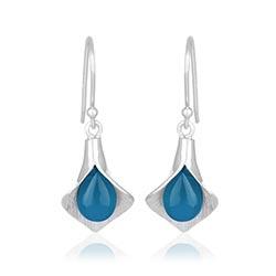 Blad blå calcedon øreringe i sølv