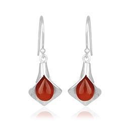 Flotte blad røde øreringe i sølv