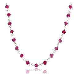 Pæn pink aventurin halskæde i sølv 42 cm plus 5 cm x 3,0 mm