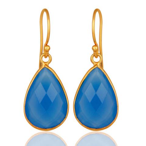 Smukke dråbe blå øreringe i forgyldt sølv