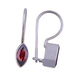 Røde granat øreringe i sølv
