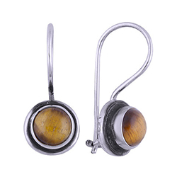 Runde brune øreringe i oxideret sterlingsølv