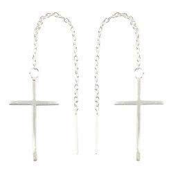 Lange kors ørehænger i sølv