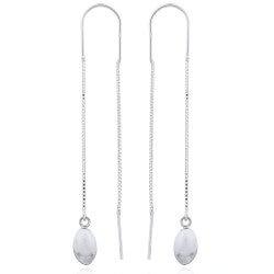 Lange ovale ørehænger i sølv