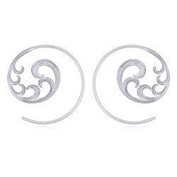 Rund mønstret creoler i sølv