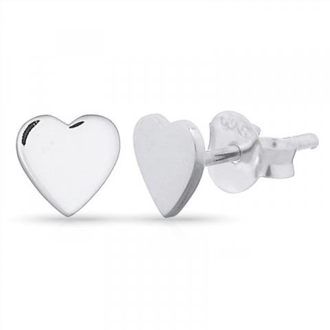 Pæne hjerte ørestikker i sølv
