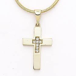 Kors zirkon vedhæng i 14 karat guld