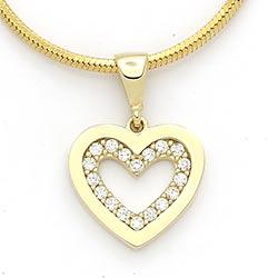 Hjerte hvid zirkon vedhæng i 14 karat guld