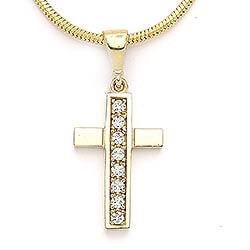 Elegant kors vedhæng i 14 karat guld