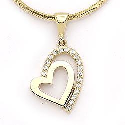 Dobbelt hjerte vedhæng i 14 karat guld