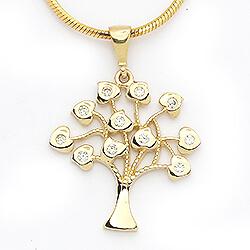 19 mm livets træ hvid zirkon vedhæng i 14 karat guld