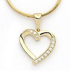 Fint hjerte zirkon vedhæng i 14 karat guld