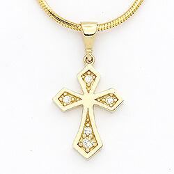 Smukt kors vedhæng i 14 karat guld