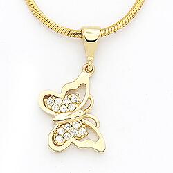 Smart sommerfugle vedhæng i 14 karat guld