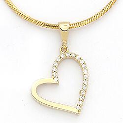 Flot hjerte vedhæng i 14 karat guld